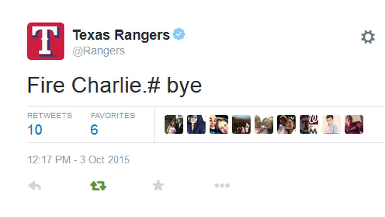 德州游骑兵队的Twitter帐户不小心要求查理·斯特朗的解雇