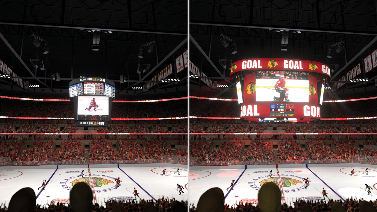 The current United Center scoreboard is on the left, and the new one is on the right. | United Center