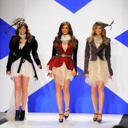 Miss Scotland Nicola Mimnagh (middle) walks the runway.