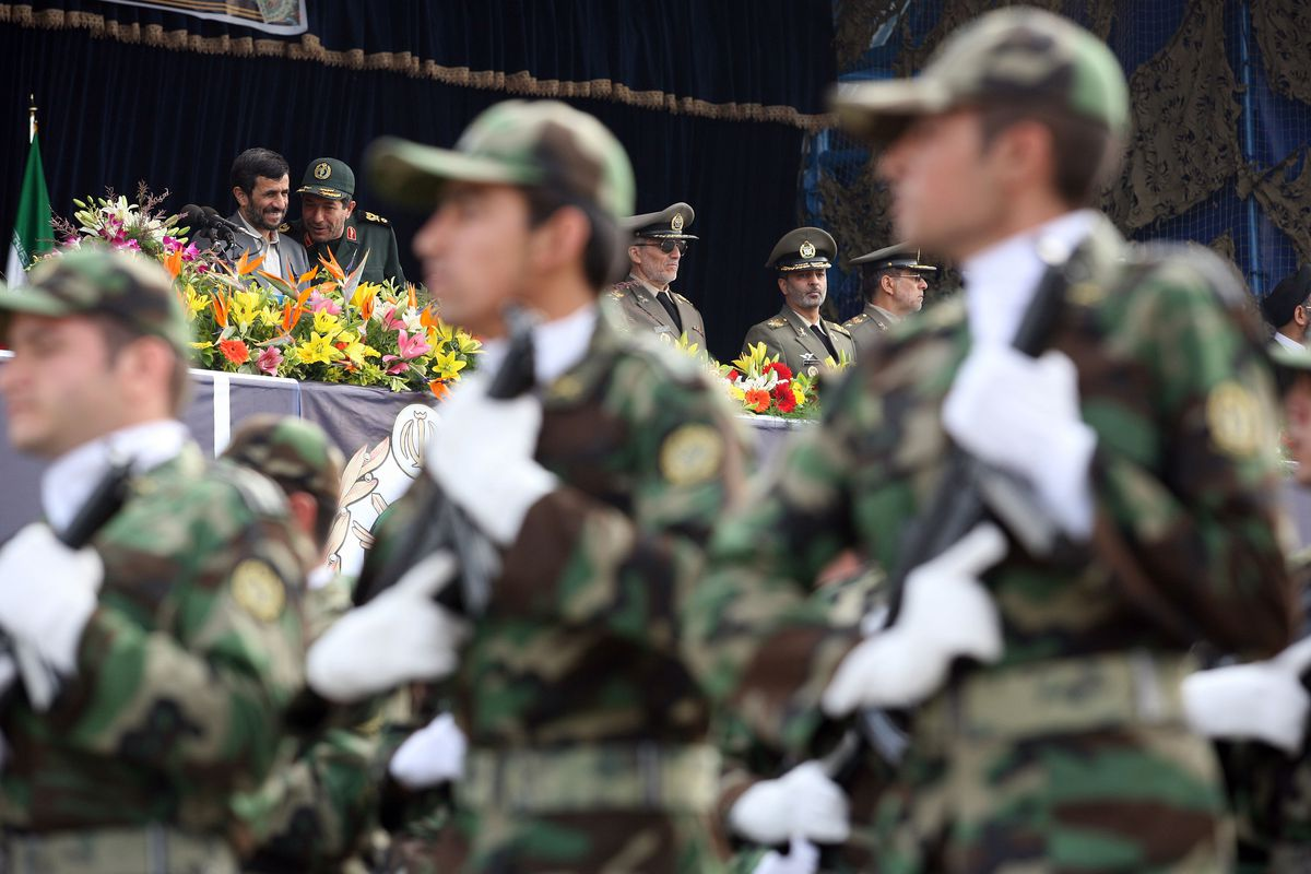 Iran's armed forces during an April 17, 2008 military parade.