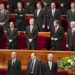 Members of the First Presidency and the other General authorities stand with the audience to sing during the morning session of 183 annual General Conference of the Church of Jesus Christ of Latter Day Saints Saturday, April 6, 2013 inside the Conference Center.