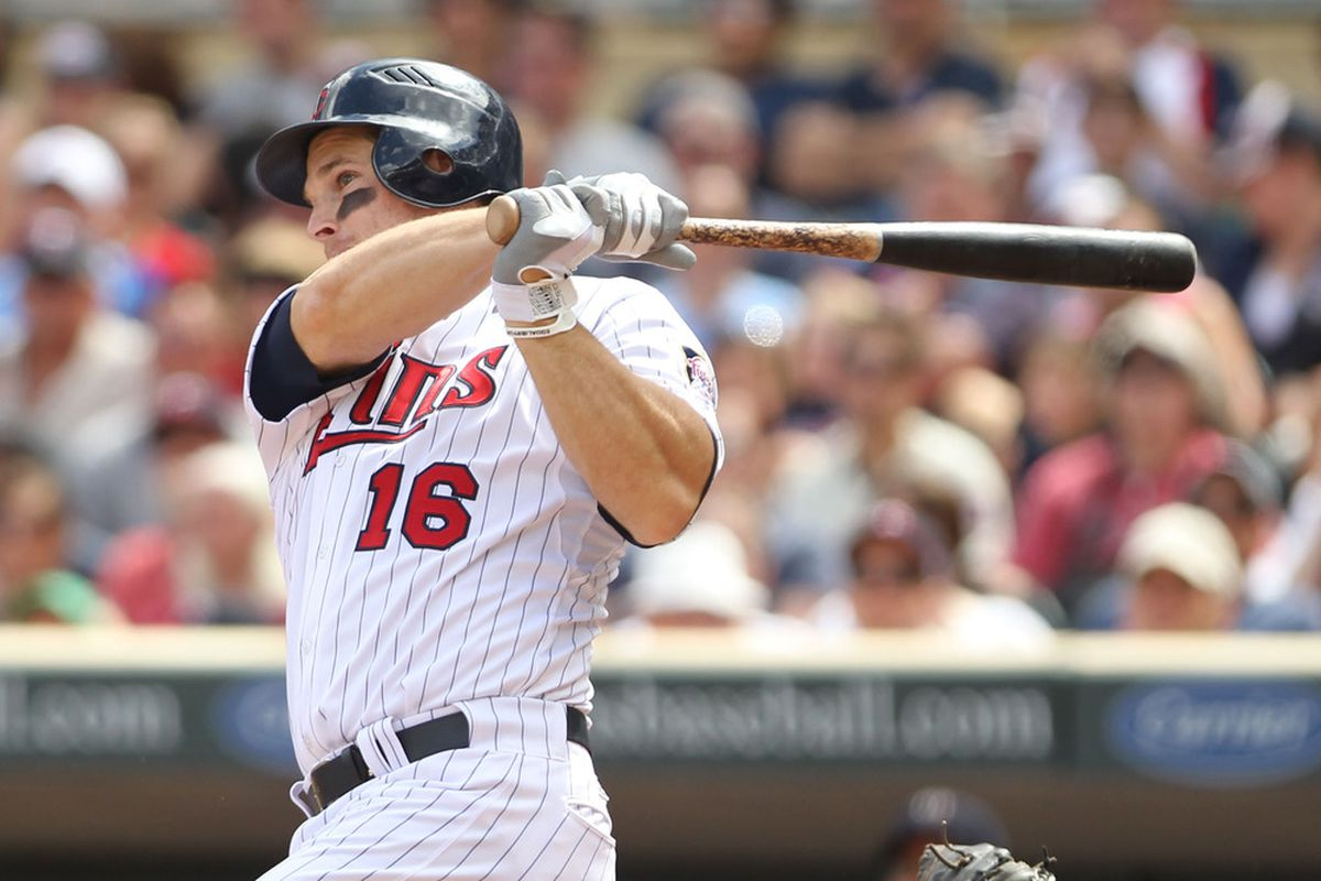 May 28, 2012; Minneapolis, MN, USA; Minnesota Twins outfielder Josh Willingham (16) against the Oakland Athletics at Target Field. The Twins defeated the Athletics 5-4. Mandatory Credit: Brace Hemmelgarn-US PRESSWIRE