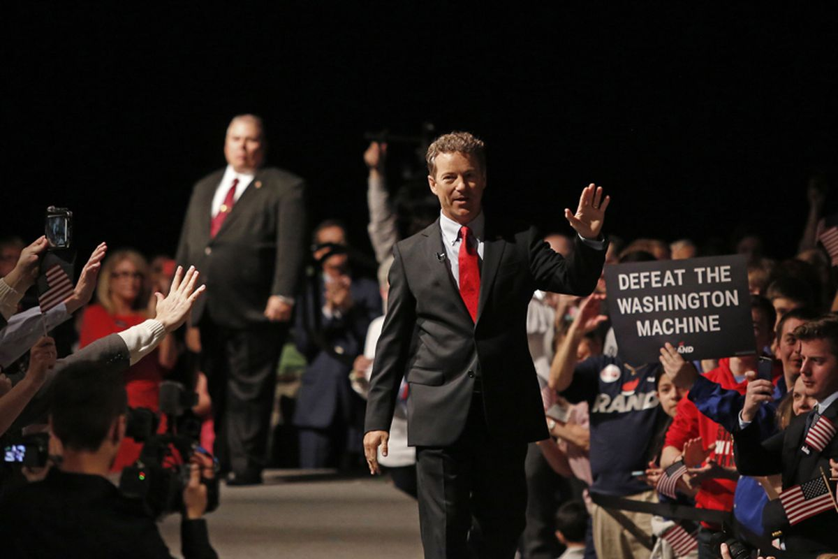 rand paul takes stage waves presidential announcement sentences