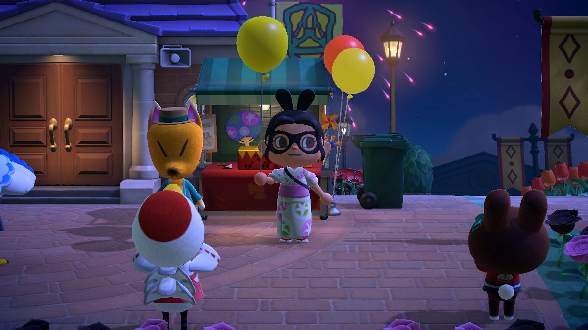 An Animal Crossing character holds a Yellow Balloon
