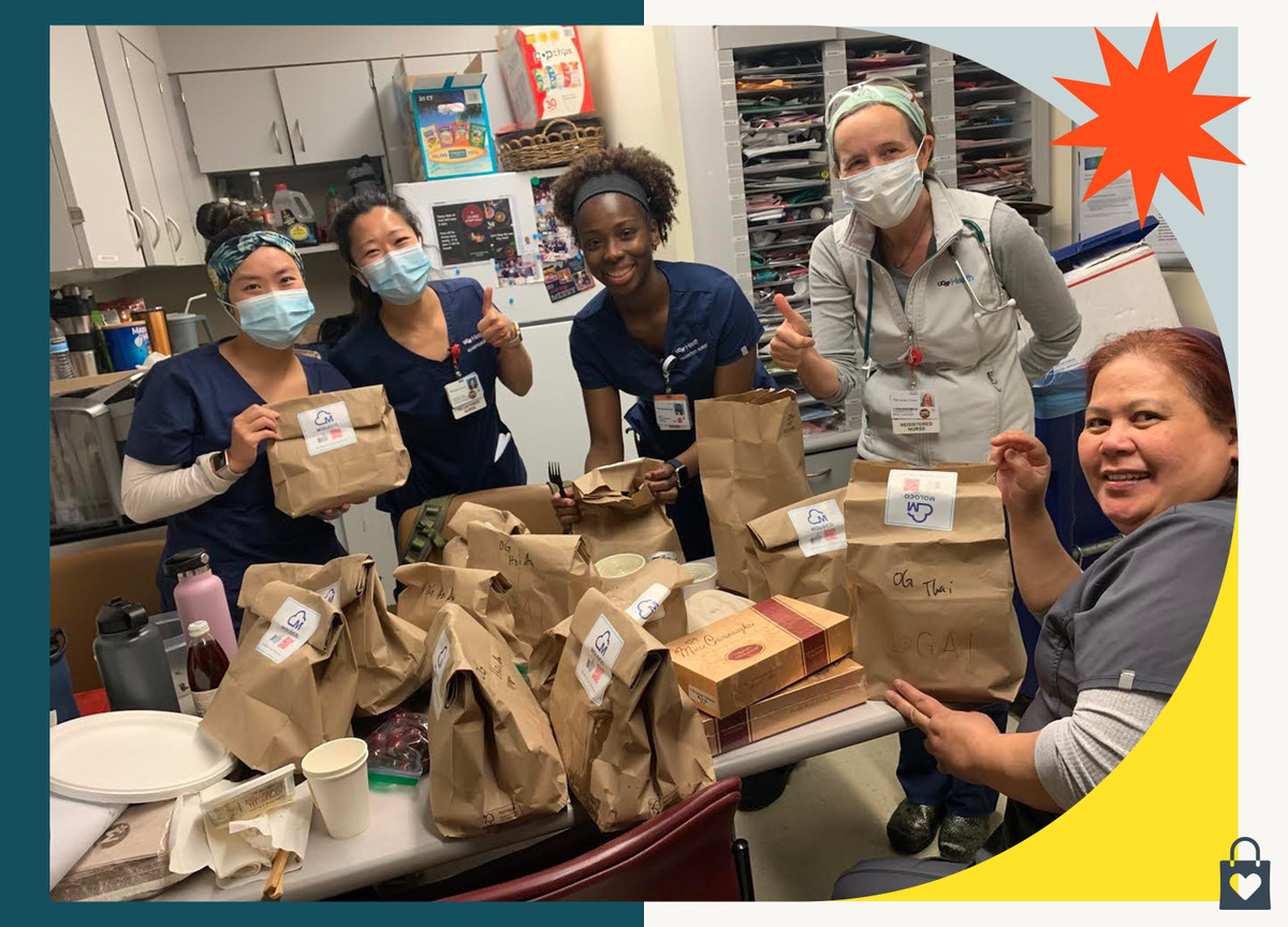 An image of nurses in the San Francisco area receiving bagged lunches from Gai restaurant, during National Nurses Week in May 2020.