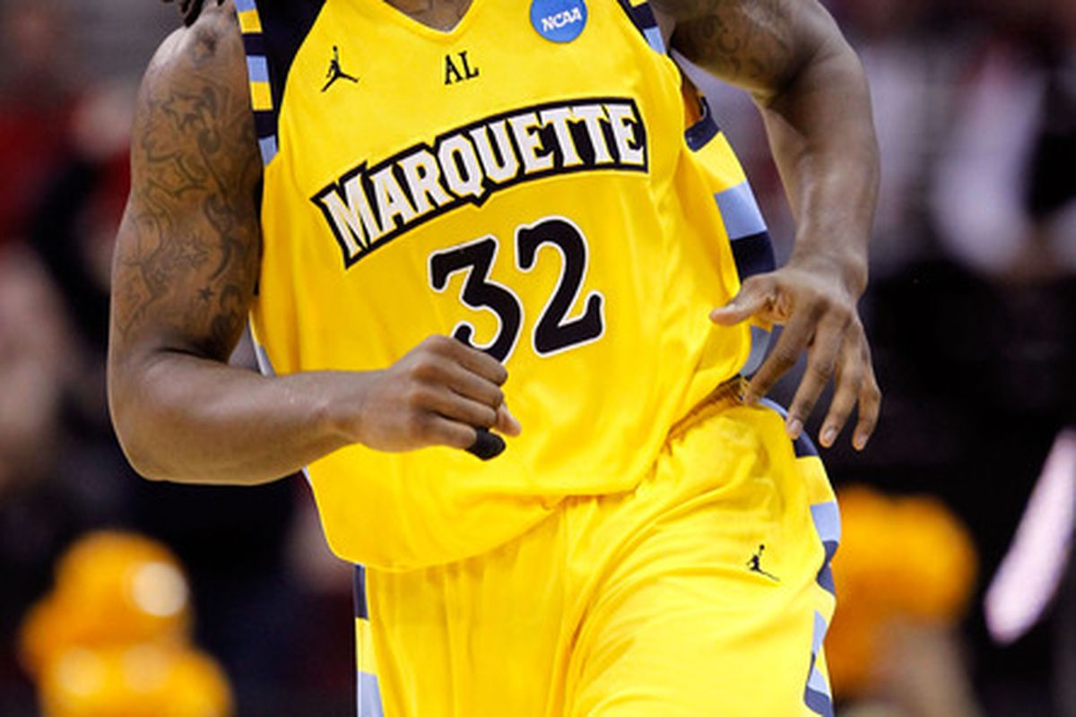 Jae Crowder and his dreds made their debut at Marquette Madness 2010.  (Photo by Gregory Shamus/Getty Images)