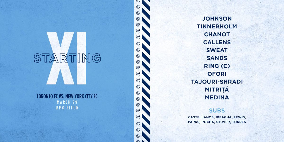 A lineup card with New York City FC's starting lineup.