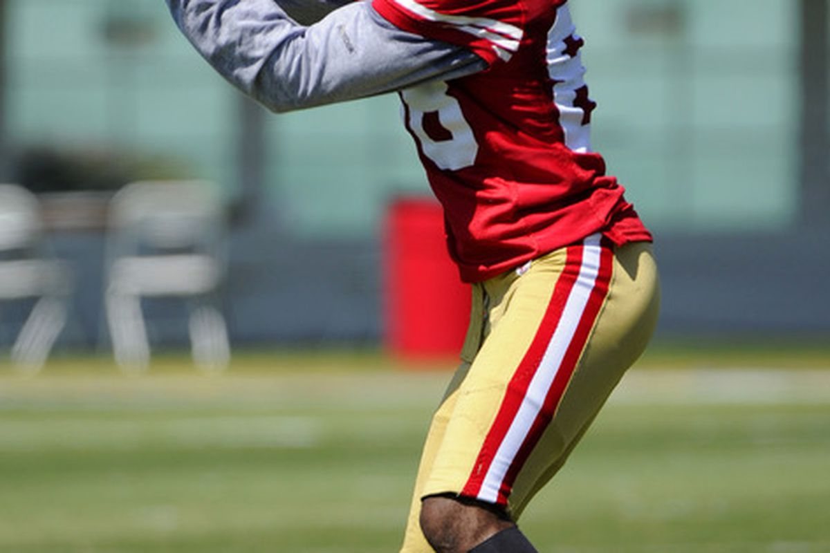 SANTA CLARA, CA - JULY 30: Ronald Johnson #88 of the San Francisco 49ers catches a pass during practice at the San Francisco 49ers training facility on July 30, 2011 in Santa Clara, California. (Photo by Thearon W. Henderson/Getty Images)