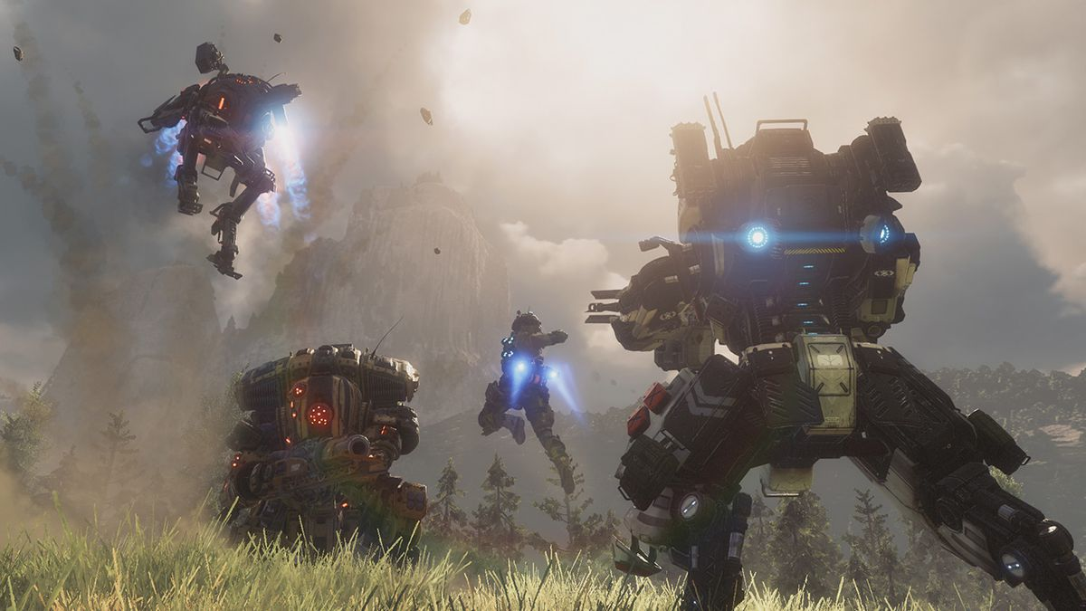 Titans and pilots fight in a grassy field in a screenshot from Titanfall 2