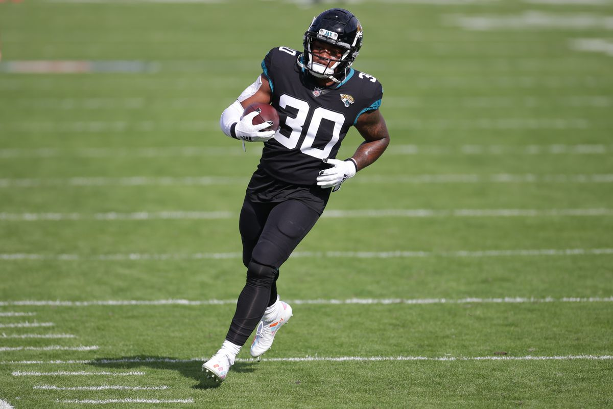 Jacksonville Jaguars Running Back James Robinson (30) during the game between the Tennessee Titans and the Jacksonville Jaguars on December 13, 2020 at TIAA Bank Field in Jacksonville, Fl.