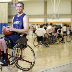 Jeff Griffin poses for a portrait as his teammates practice at Salt Lake Community College's Lifetime Activities Center on Feb. 20.