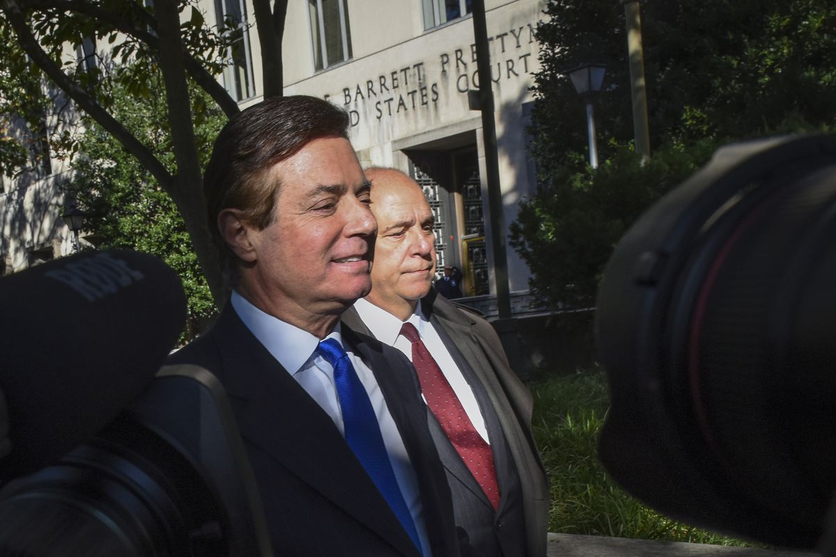 President Trump's former campaign manager Paul Manafort departs US District Court on October 30, in Washington, DC.