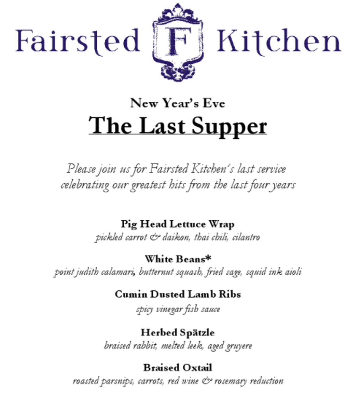 Fairsted Kitchen Bids Adieu on New Year\'s Eve - Eater Boston