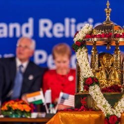 Elder D. Todd Christofferson, a member of the Quorum of Twelve Apostles for The Church of Jesus Christ of Latter-day Saints sits behind the Philosopher Saint Shri Dnyaneshwara World Peace Prize-2017, during an award ceremony at the MIT World Peace University  in Pune, Maharashtra, India on August 14, 2017.