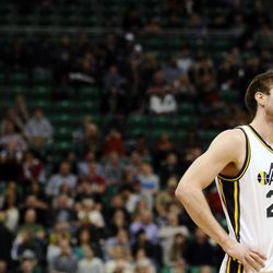 Utah Jazz shooting guard Gordon Hayward (20) checks the scoreboard after being called for a foul during a game between the Utah Jazz and Minnesota Timberwolves at EnergySolutions Arena on Tuesday, January 21, 2014.