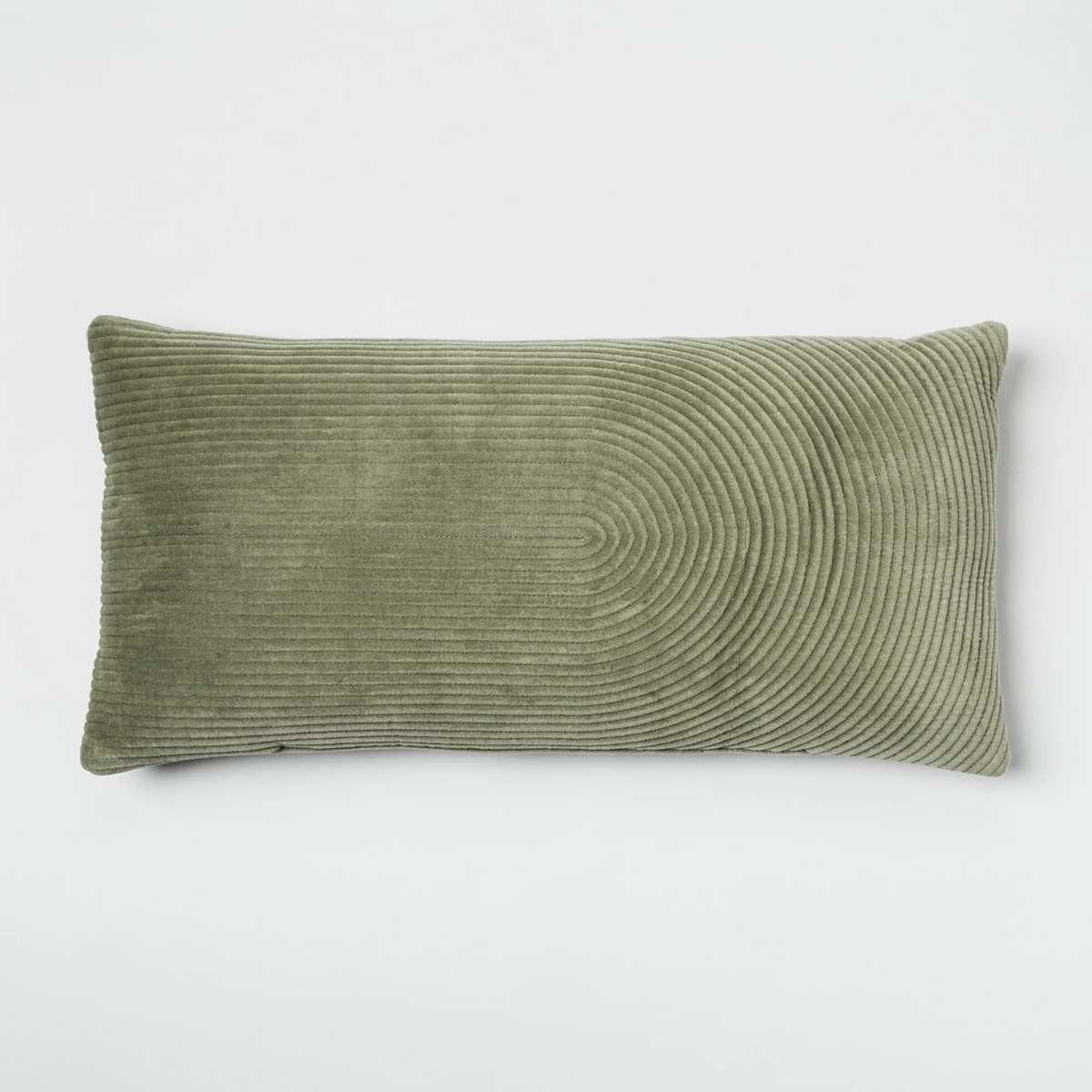 Rectangular moss green pillow.