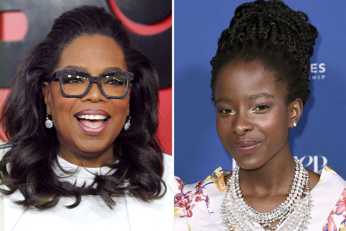 """Amanda Gorman (right) revisits her inaugural poem that wowed observers, among them Oprah Winfrey, in the Apple TV+ series """"The Oprah Conversation."""" The interview will be released March 26 on the streaming service."""