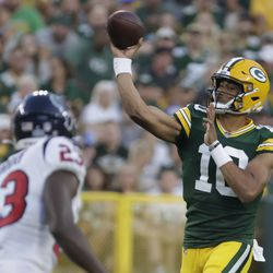Green Bay Packers' Jordan Love throws during the first half of a preseason NFL football game against the Houston Texans Saturday, Aug. 14, 2021, in Green Bay, Wis.