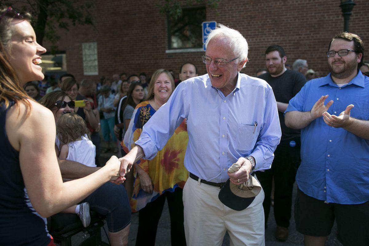 Bernie Sanders campaigning in Iowa in August.
