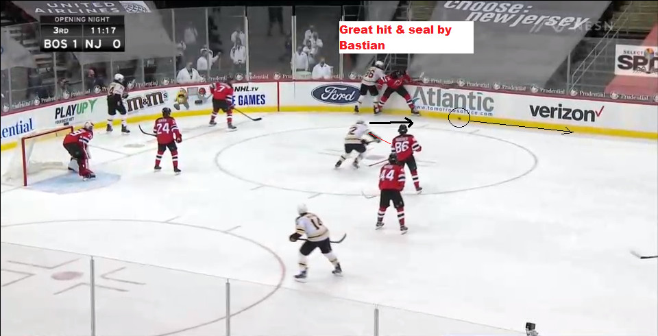 Part 4: Bastian seals off Miller, puck continues around the boards.  Kuraly to pursue.