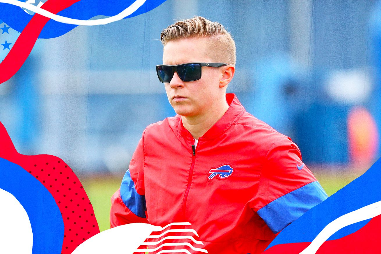 Intern coach Callie Brownson, wearing sunglasses and a Bills windbreaker, superimposed on a blue, white, and red background