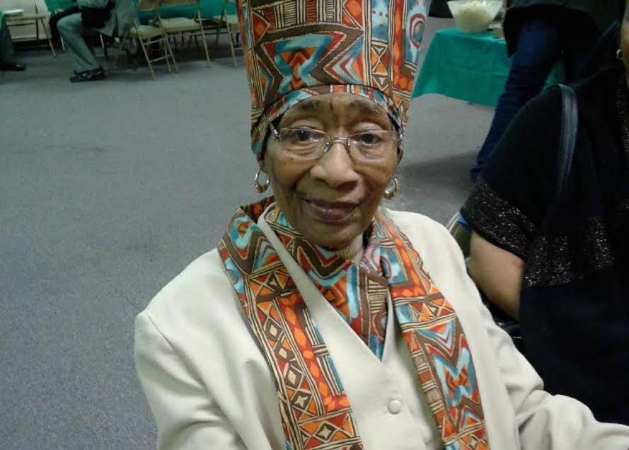 Zetta Mae Washington Pierce made the African-inspired headdress and accessories she's seen wearing here. | Provided photo