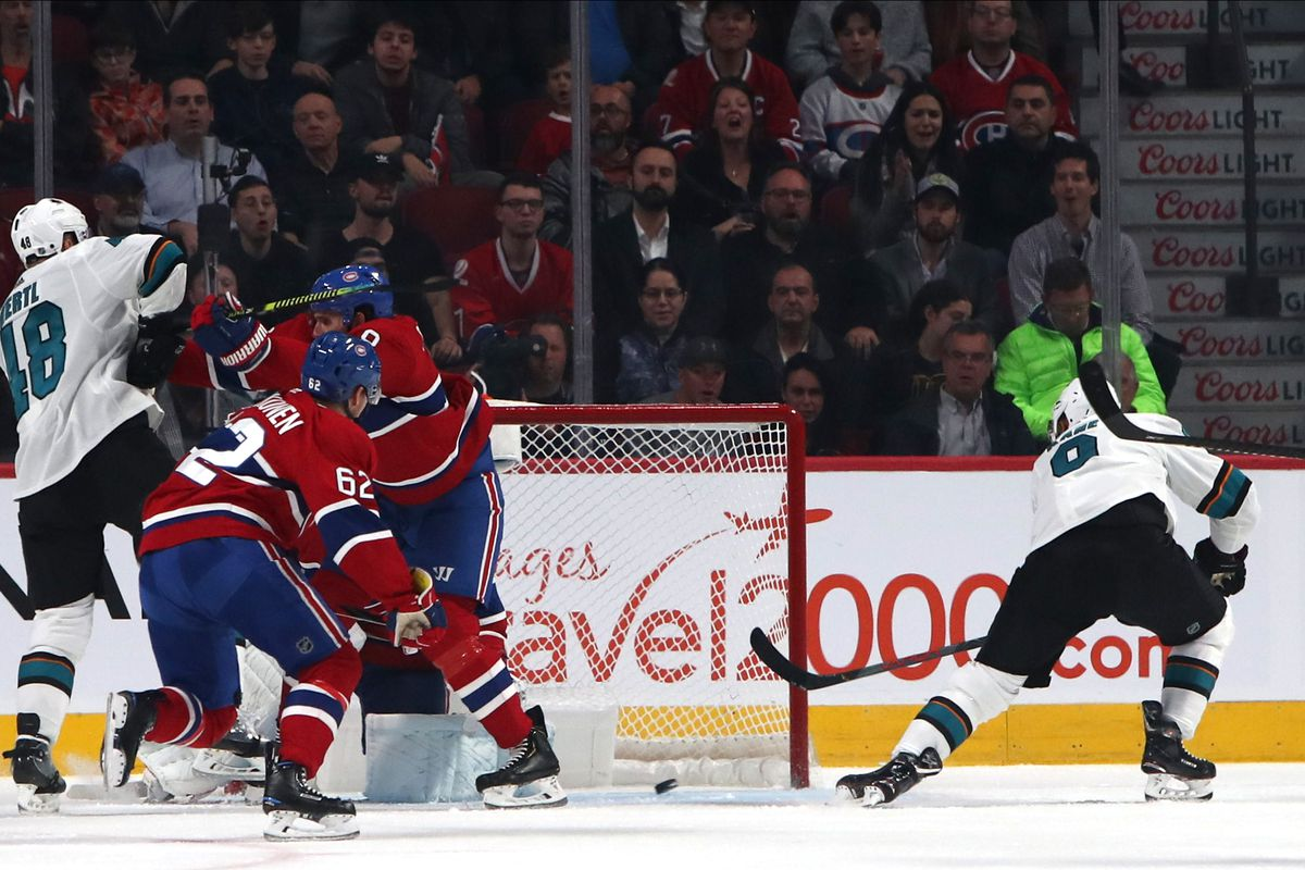 Oct 24, 2019; Montreal, Quebec, CAN; San Jose Sharks left wing Evander Kane (9) shots and scores a goal against Montreal Canadiens goaltender Carey Price (31) during the second period at Bell Centre. Mandatory Credit: Jean-Yves Ahern-USA TODAY Sports