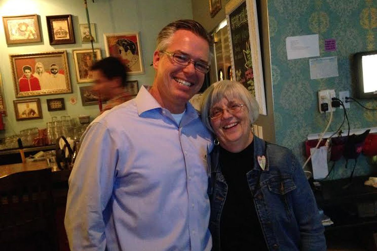 Robert Speth with a supporter at his election watch party at a northwest Denver restaurant (Melanie Asmar).