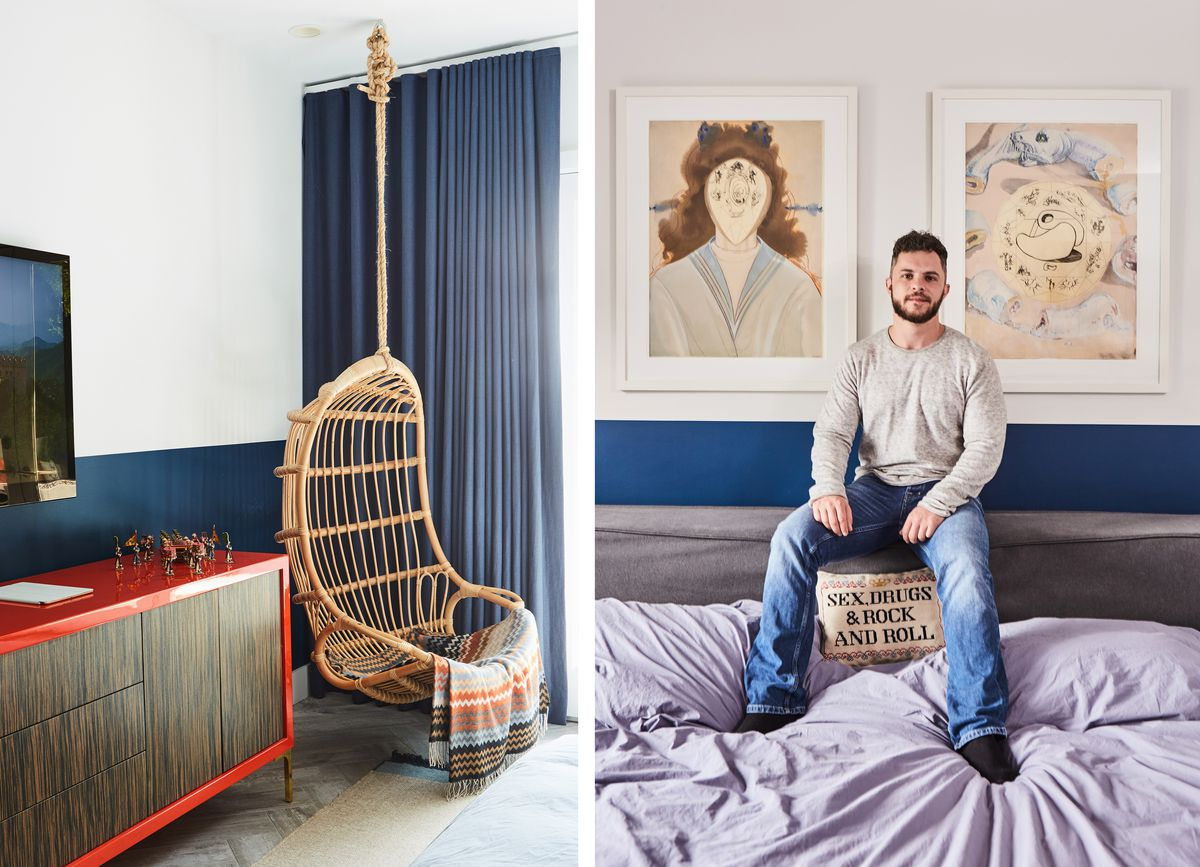 The corner of the bedroom, a hanging chair and a red + wood dresser; A portrait of Adam in his bedroom.