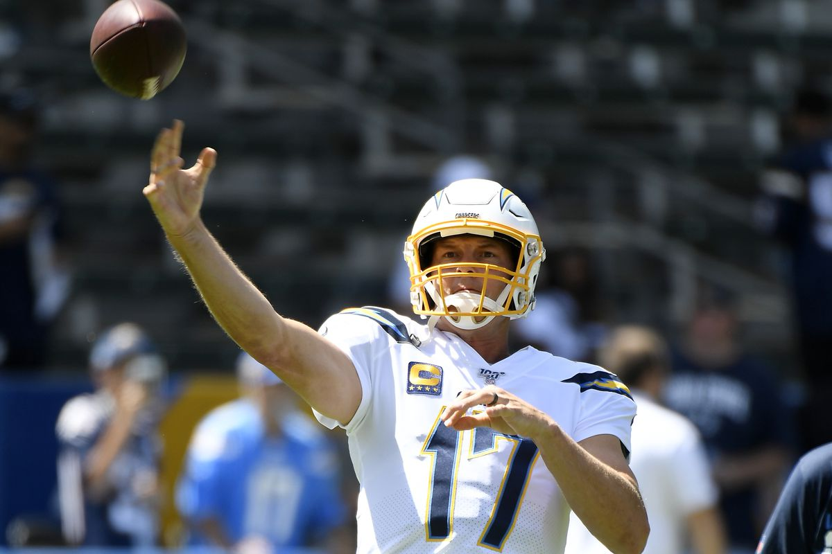 Quarterback Philip Rivers #17 of the Los Angeles Chargers throws during warm up prior to the start of the first game of the NFL season against Indianapolis Colts at Dignity Health Sports Park on September 8, 2019 in Carson, California.