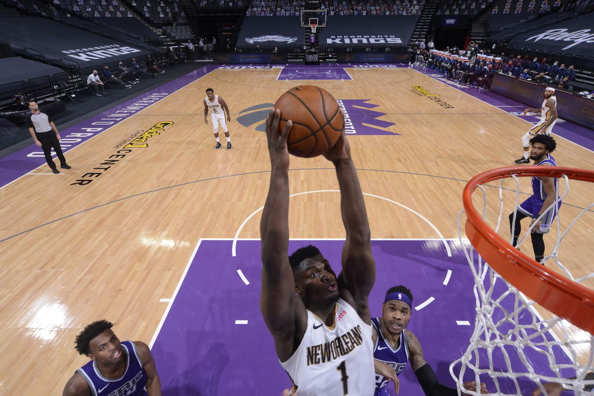 Zion Williamson of the New Orleans Pelicans dunks the ball against the Sacramento Kings on January 17, 2021 at Golden 1 Center in Sacramento, California.