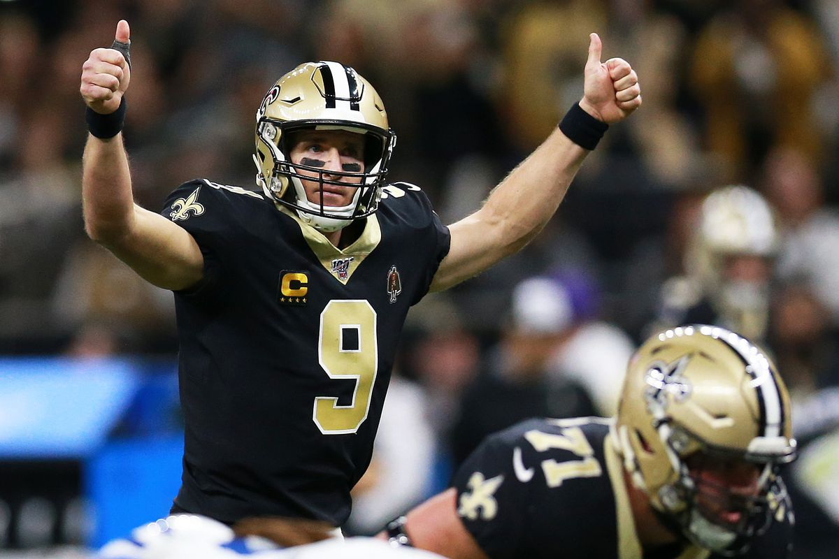 Quarterback Drew Brees of the New Orleans Saints calls a play on the line of scrimmage during the game against the Indianapolis Colts at Mercedes Benz Superdome on December 16, 2019 in New Orleans, Louisiana.