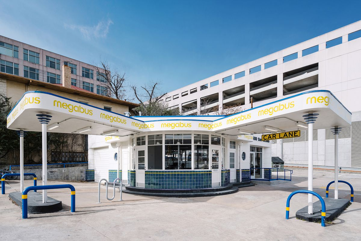 Photo of a restored Deco gas station