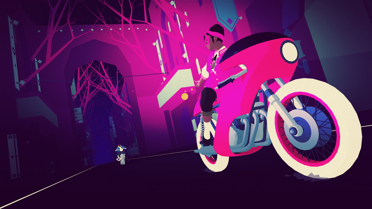 A masked woman on a neon-colored bicycle looks behind