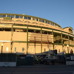 4:18 p.m. A wide view of the front of the ballpark -
