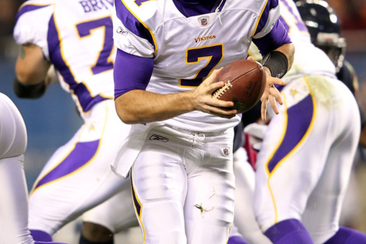 CHICAGO, IL - OCTOBER 16:  Quarterback Christian Ponder #7 of the Minnesota Vikings in action during the game against the Chicago Bears on October 16, 2011 at Soldier Field in Chicago, Illinois.  (Photo by Jamie Squire/Getty Images)