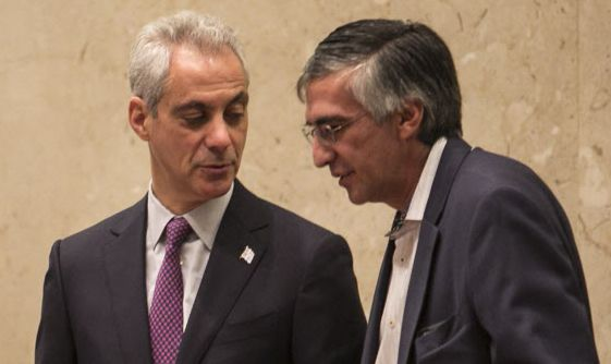 Ald. Ricardo Munoz (22nd) (right) said Mayor Rahm Emanuel (left) included tree planting in his spending plan knowing he could get rid of it to help reach a compromise on how to spend leftover property tax rebate money. | Sun-Times file photo