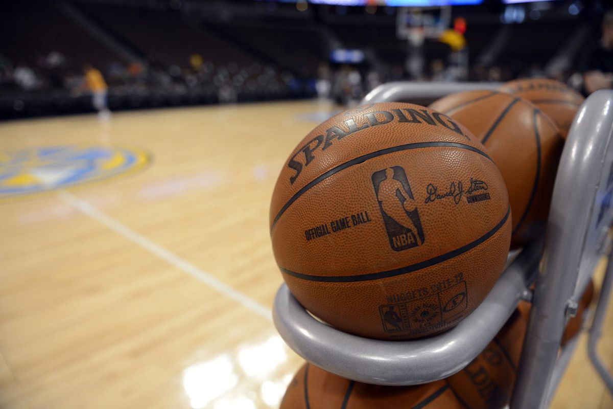 April 6 2012; Denver, CO, USA; General view of Denver Nuggets home court basketballs before the game against the Phoenix Suns at the Pepsi Center. Mandatory Credit: Ron Chenoy-US PRESSWIRE