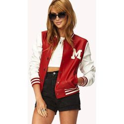 """Faux Leather Varsity Jacket, $24.80 at <a href=""""http://www.forever21.com/Product/Product.aspx?BR=f21&Category=outerwear_coats-and-jackets&ProductID=2077745984&VariantID="""">Forever 21</a>"""