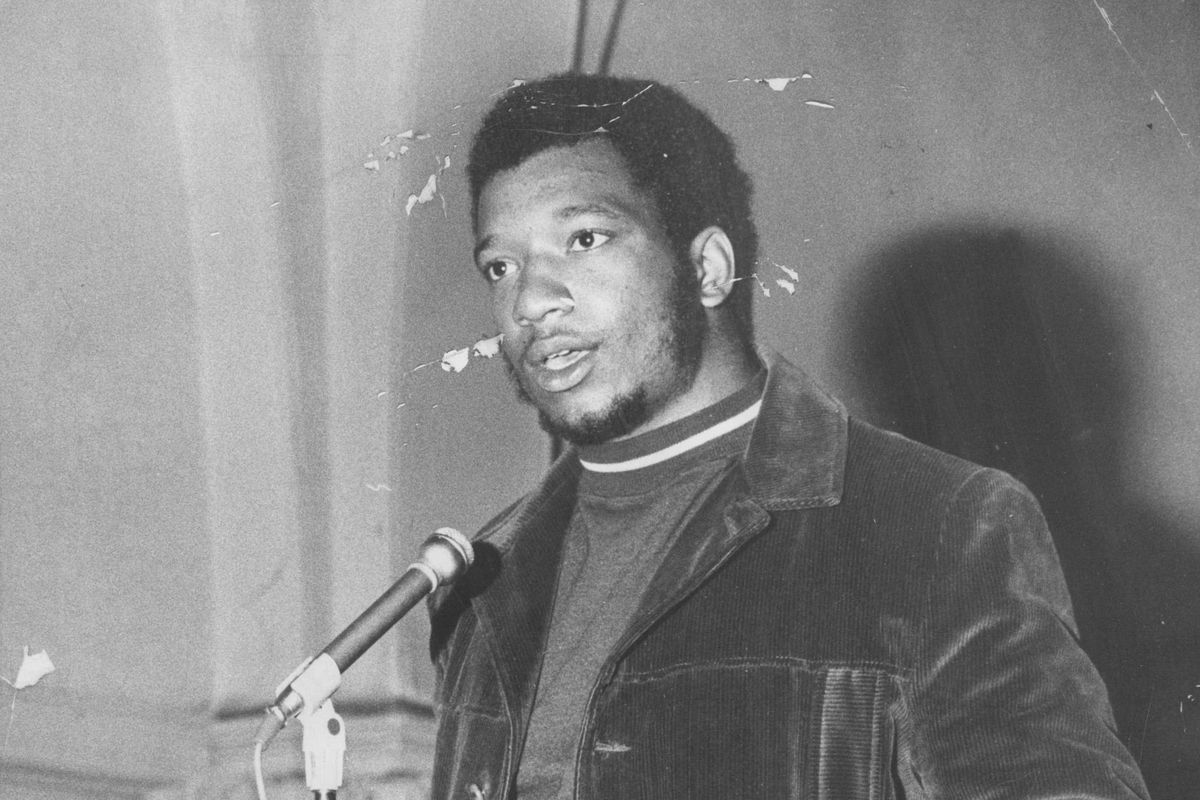 Fred Hampton of the Illinois Black Panther Party speaks at a rally at St. Bartholomew's Episcopal Church.