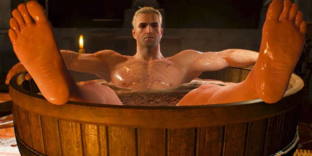 The Witcher 3 bath time