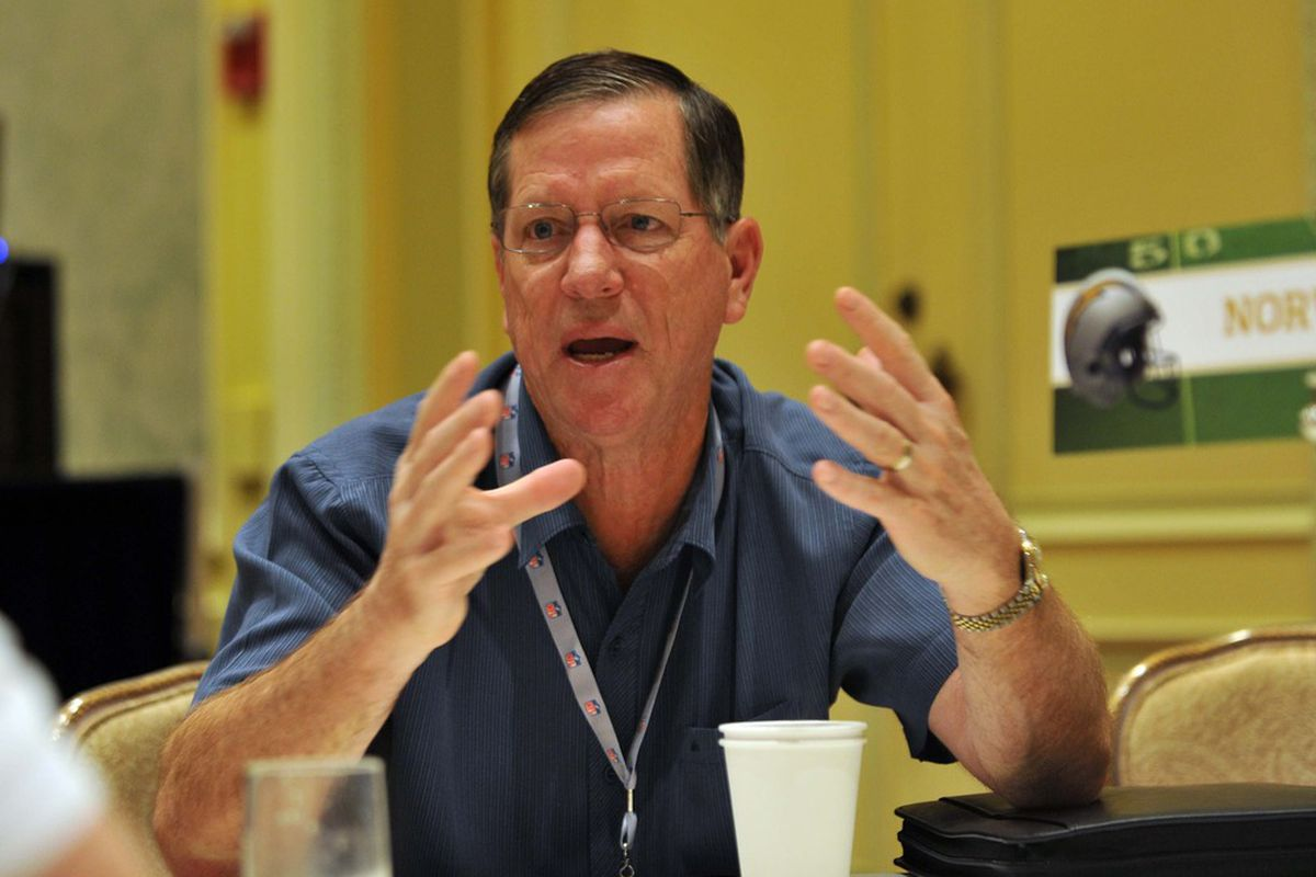 San Diego Chargers head coach Norv Turner answers questions form reporters during the AFC head coaches media breakfast at the Breakers Hotel. Mandatory Credit: Steve Mitchell-US PRESSWIRE