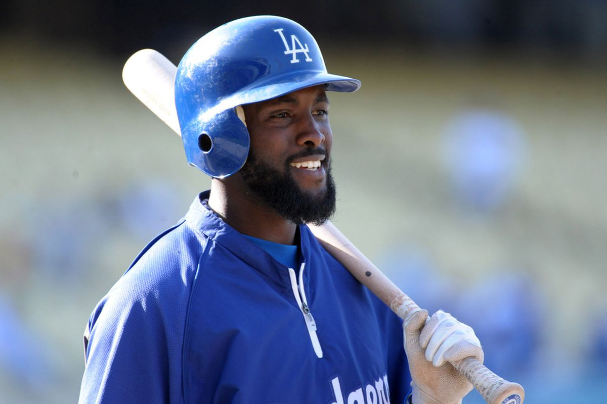 May 15, 2012; Los Angeles, CA, USA; Los Angeles Dodgers left fielder Tony Gwynn Jr. (10) before the game against the Arizona Diamondbacks at Dodger Stadium. Mandatory Credit: Kirby Lee/Image of Sport-US PRESSWIRE