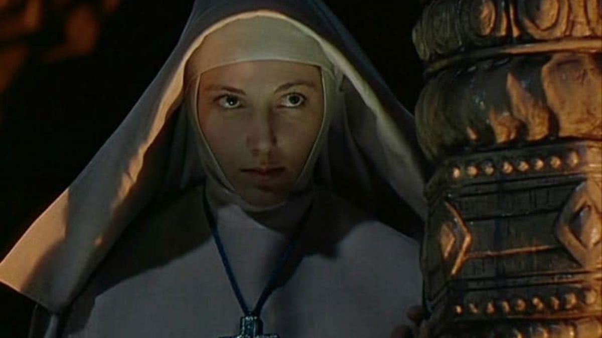 A nun hides in the shadows in Black Narcissus
