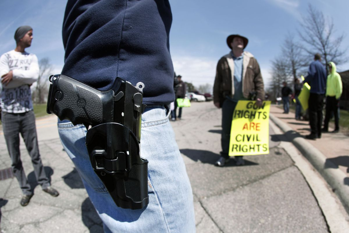 An open carry demonstration in Romulus, Michigan on April 27.