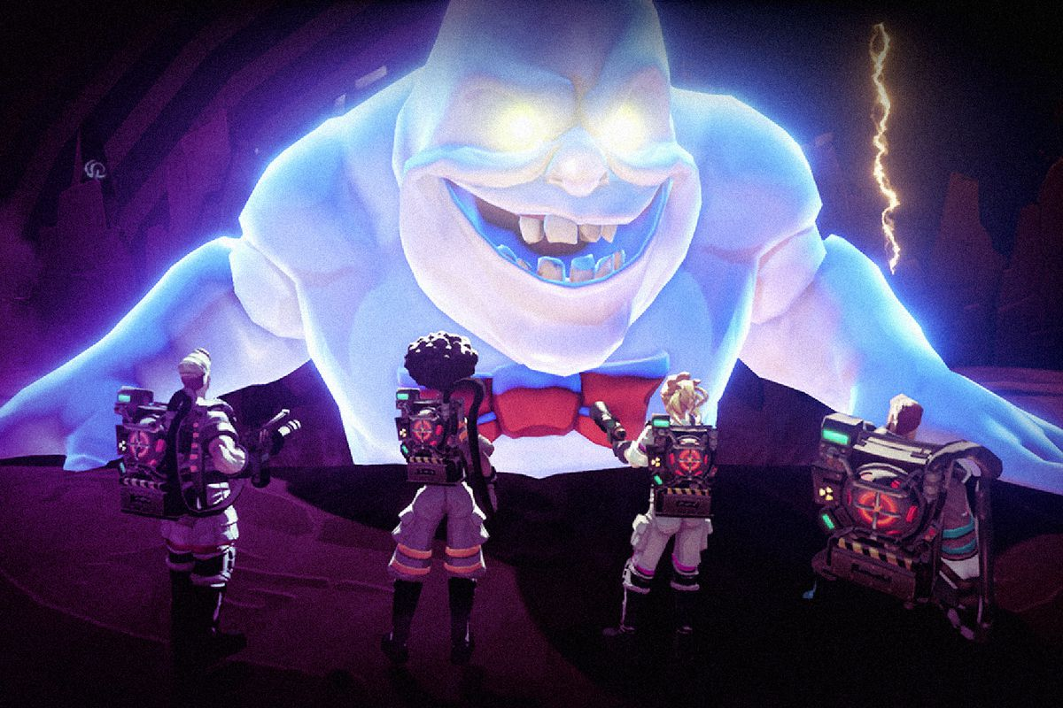 ghostbusters 2016, a giant blue ghost smiles menacingly at four ghostbusters