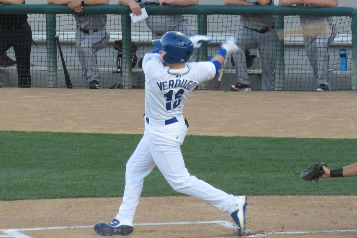 Alex Verdugo, 19, hit .385/.406/.659 in 26 games after his promotion to Class-A Rancho Cucamonga.