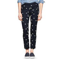 """<b>Gap</b> Slim Cropped Pants in White Star Print, <a href=""""http://www.gap.com/browse/product.do?pid=960371002&tid=goaff2178999&ap=2&siteID=goafcid150"""">$55</a>"""