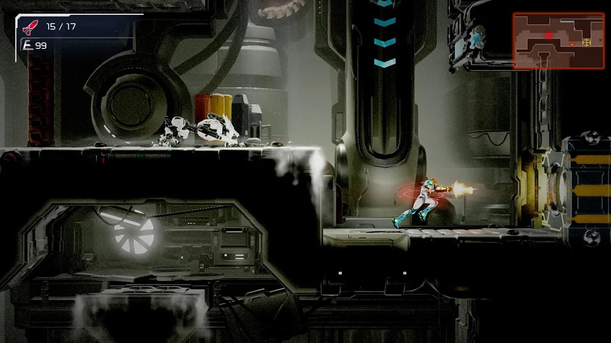 Samus runs from an E.M.M.I. in Metroid Dread