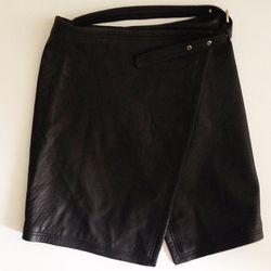 Leather Wrap Skirt, $150